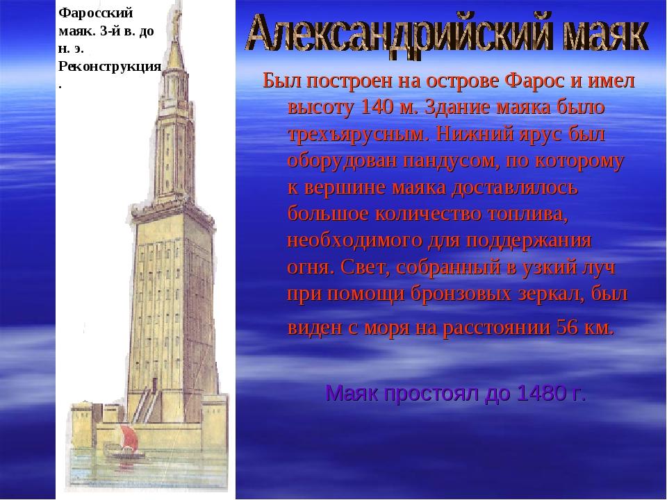 Фаросский маяк. 3-й в. до н. э. Реконструкция. Был построен на острове Фарос...