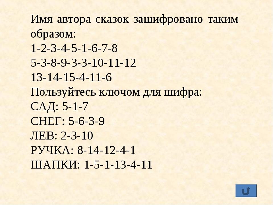 Имя автора сказок зашифровано таким образом: 1-2-3-4-5-1-6-7-8 5-3-8-9-3-3-10...