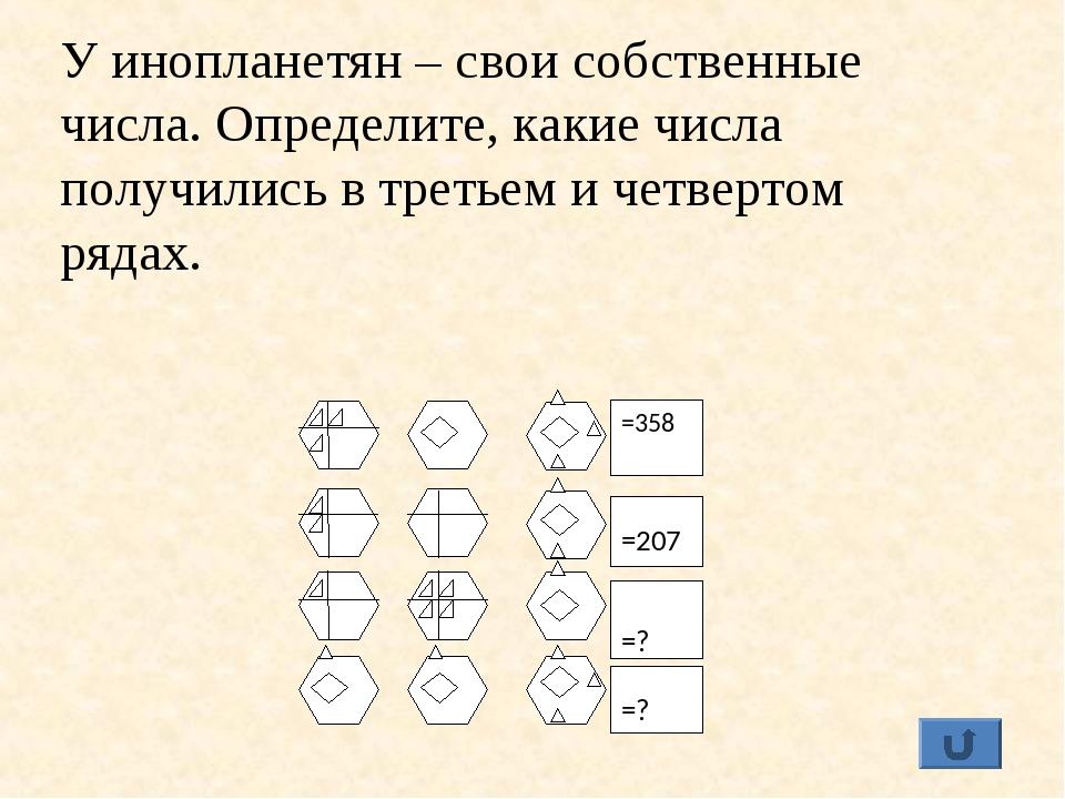 =358 =207 =? =? У инопланетян – свои собственные числа. Определите, какие чис...