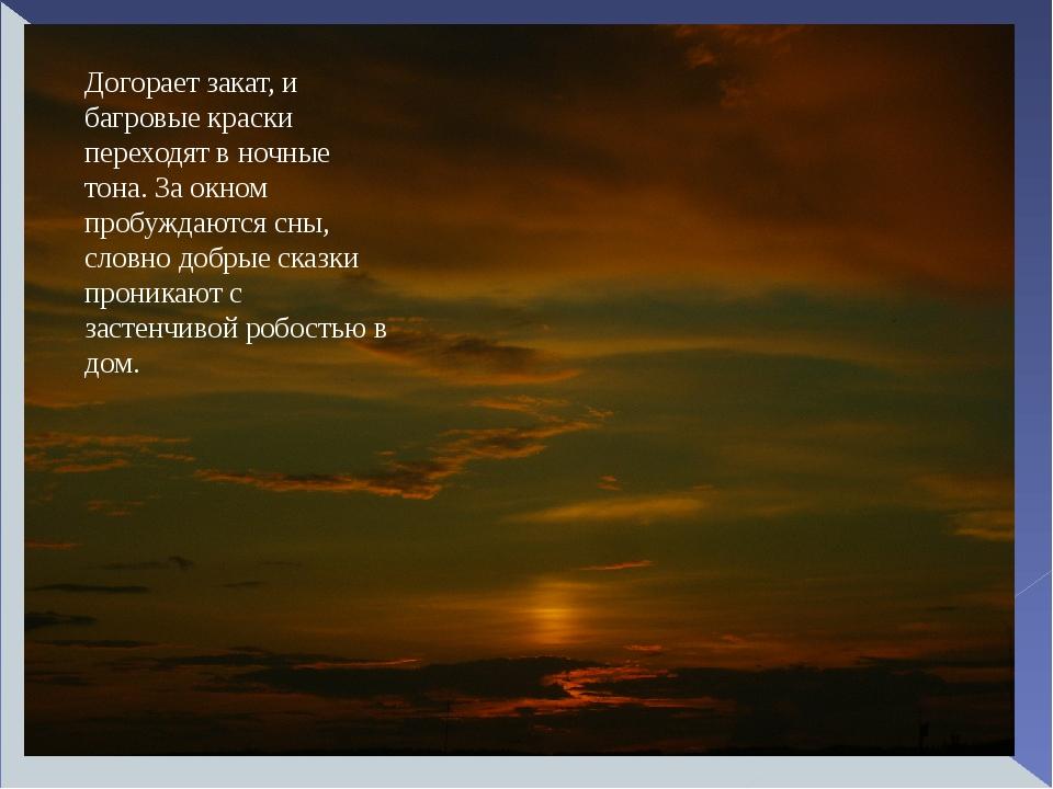 Догорает закат, и багровые краски переходят в ночные тона. За окном пробужд...