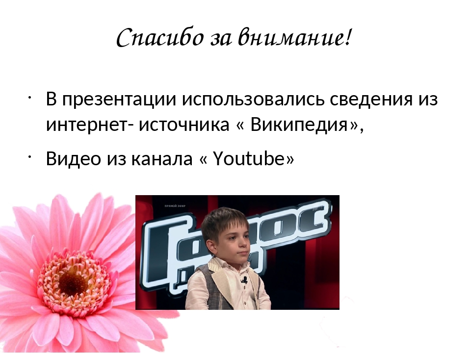 Спасибо за внимание! В презентации использовались сведения из интернет- источ...