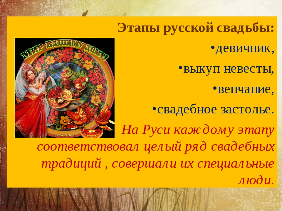 Этапы русской свадьбы: девичник, выкуп невесты, венчание, свадебное застолье....