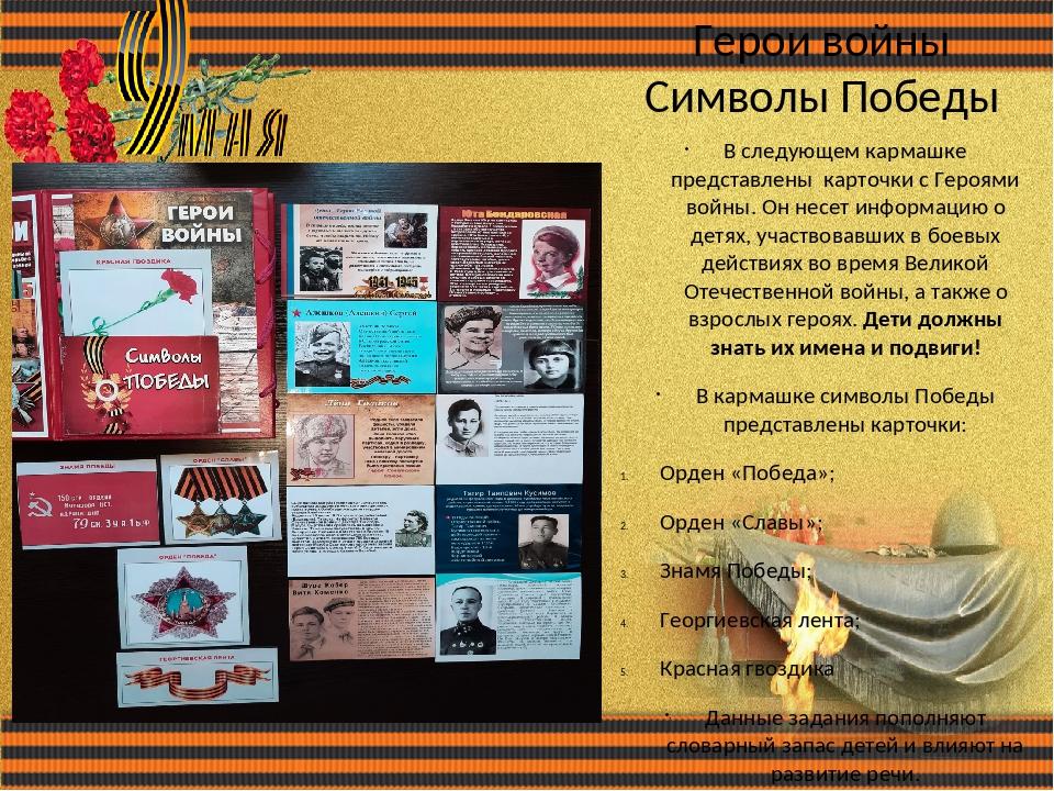 Герои войны Символы Победы В следующем кармашке представлены карточки с Героя...