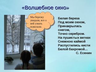 «Волшебное окно» Белая береза Под моим окном, Принакрылась снегом, Точно сере