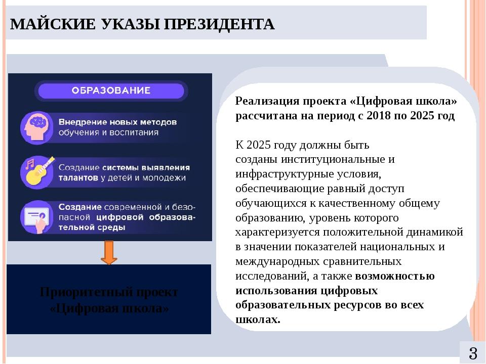 МАЙСКИЕ УКАЗЫ ПРЕЗИДЕНТА 3 Приоритетный проект «Цифровая школа» Реализация п...