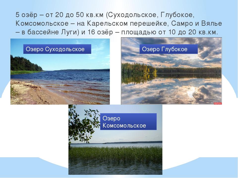 5 озёр – от 20 до 50 кв.км (Суходольское, Глубокое, Комсомольское – на Карель...