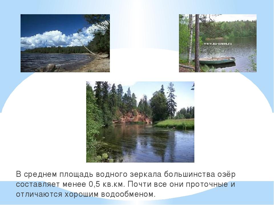 В среднем площадь водного зеркала большинства озёр составляет менее 0,5 кв.км...