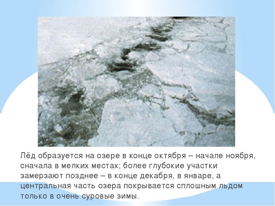 Лёд образуется на озере в конце октября – начале ноября, сначала в мелких мес...
