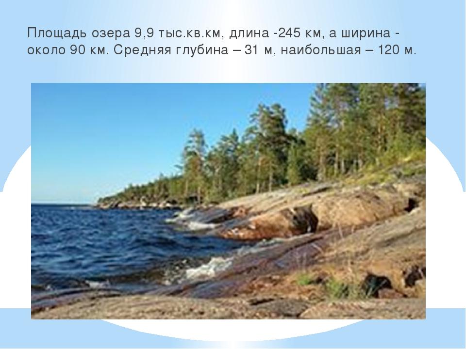Площадь озера 9,9 тыс.кв.км, длина -245 км, а ширина - около 90 км. Средняя г...