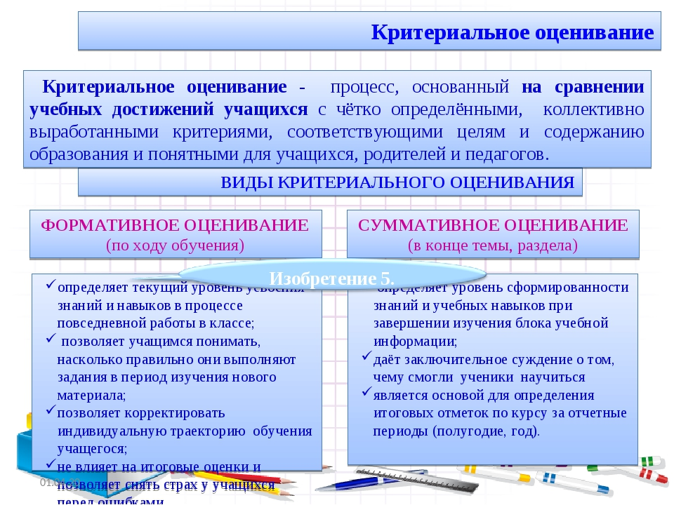 Критериальное оценивание определяет уровень сформированности знаний и учебны...