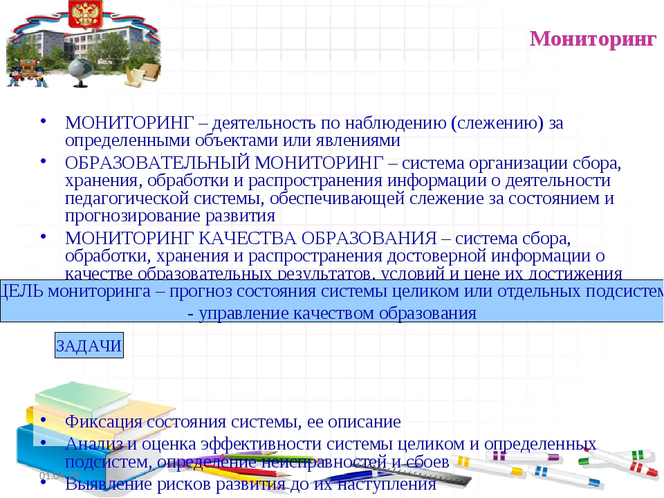 Мониторинг МОНИТОРИНГ – деятельность по наблюдению (слежению) за определенным...