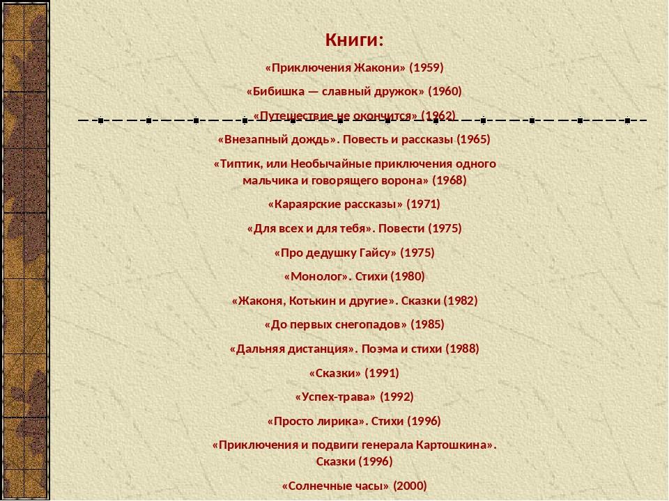 Книги: «Приключения Жакони» (1959) «Бибишка — славный дружок» (1960) «Путешес...