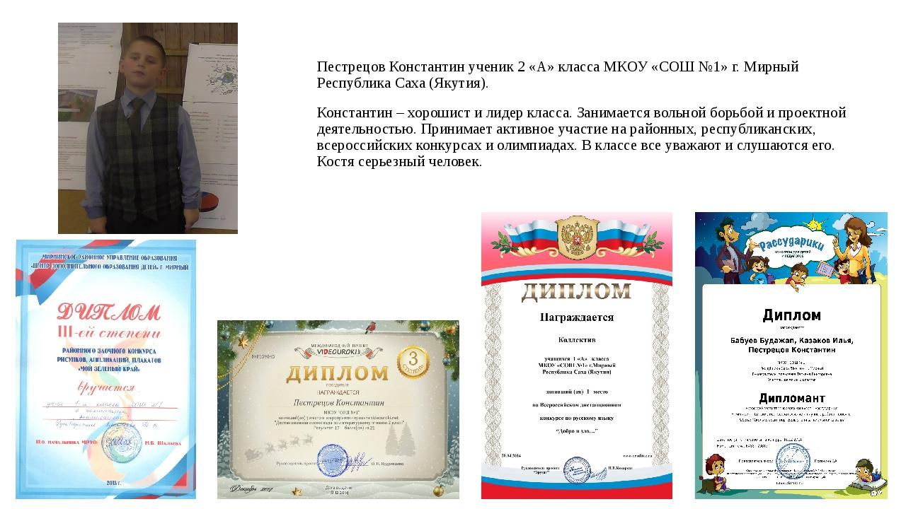 Пестрецов Константин ученик 2 «А» класса МКОУ «СОШ №1» г. Мирный Республика С...