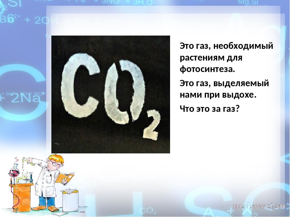 Это газ, необходимый растениям для фотосинтеза. Это газ, выделяемый нами при...