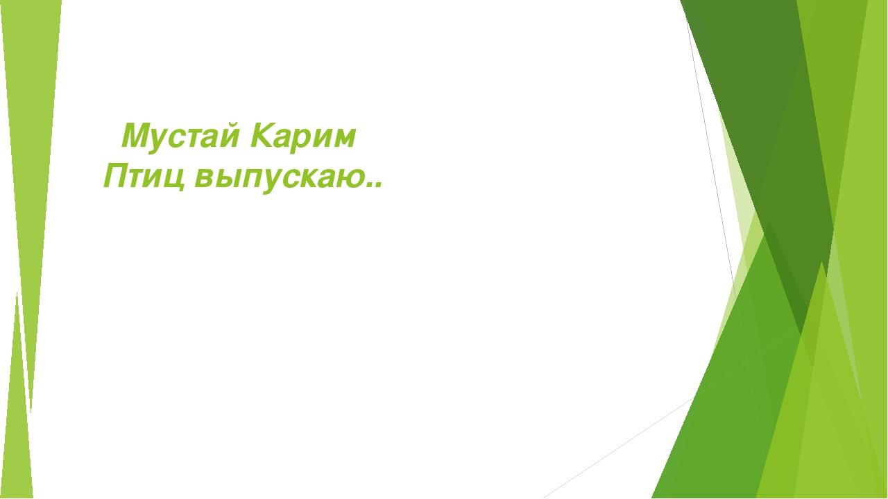 Мустай Карим  Птицвыпускаю..