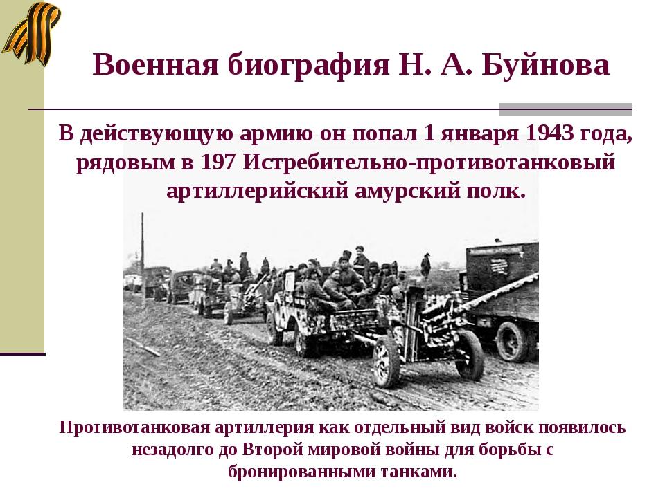 Военная биография Н. А. Буйнова Противотанковая артиллерия как отдельный вид...