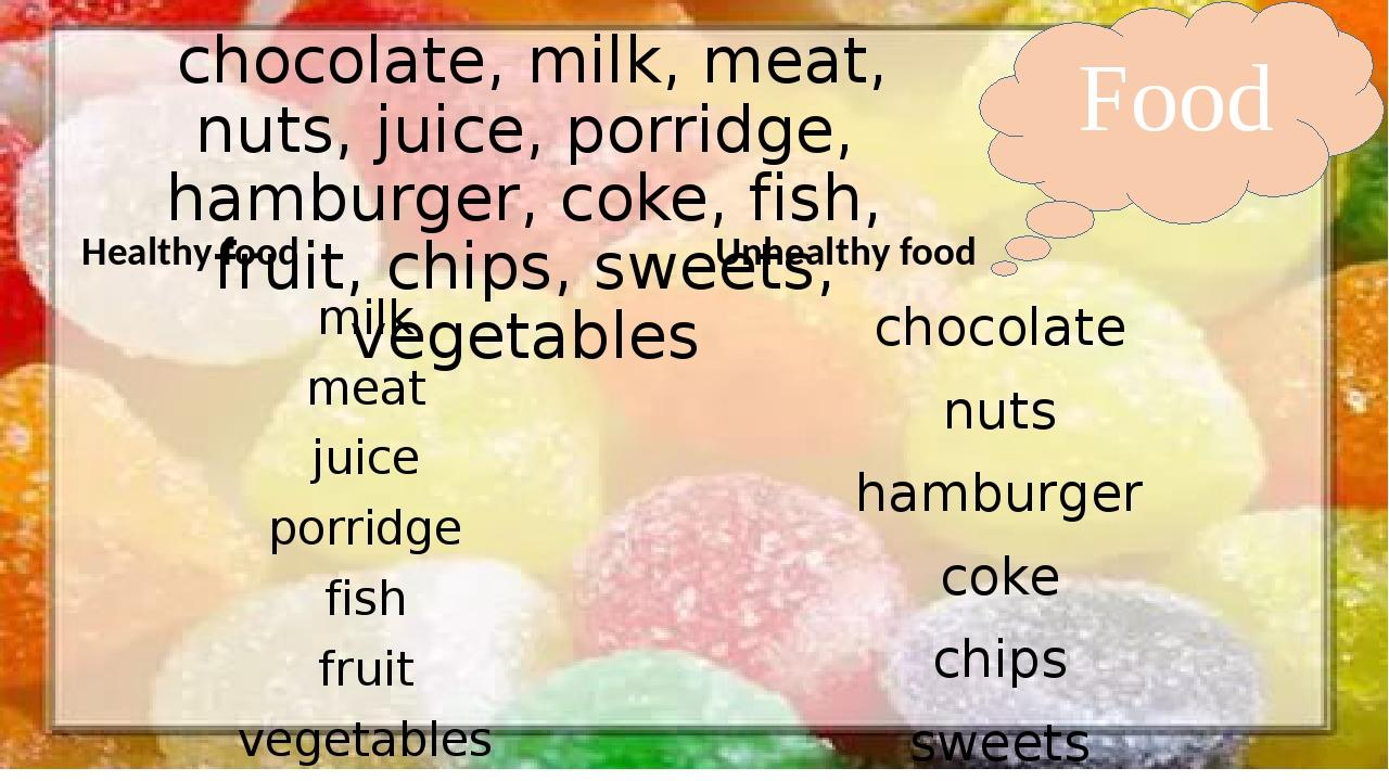 Food chocolate, milk, meat, nuts, juice, porridge, hamburger, coke, fish, fr...