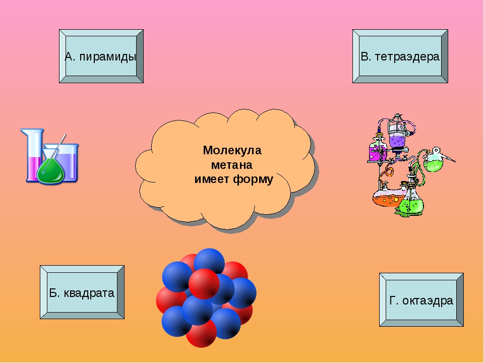 Молекула метана имеет форму А. пирамиды Г. октаэдра В. тетраэдера Б. квадрата