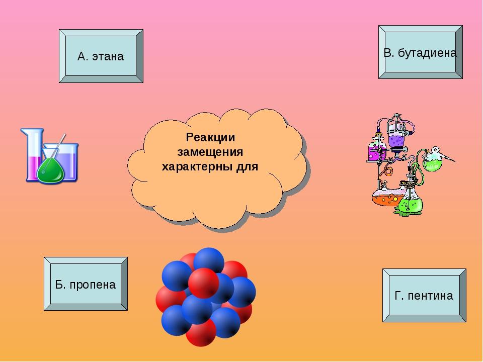 Реакции замещения характерны для А. этана Б. пропена В. бутадиена Г. пентина
