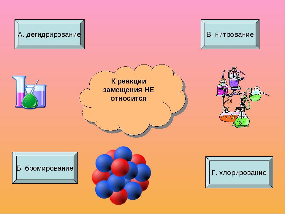 К реакции замещения НЕ относится А. дегидрирование Б. бромирование Г. хлориро...