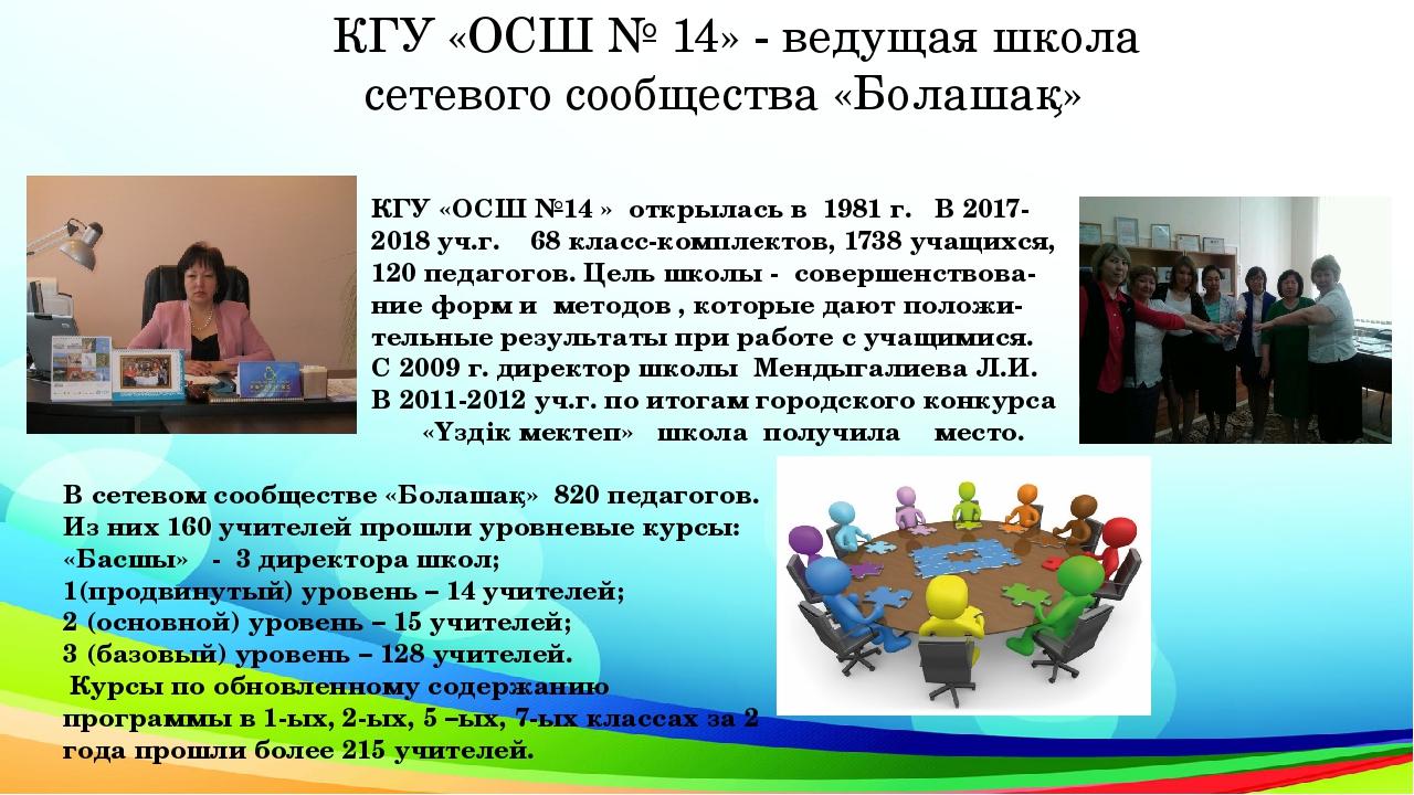 КГУ «ОСШ № 14» - ведущая школа сетевого сообщества «Болашақ» КГУ «ОСШ №14 » о...