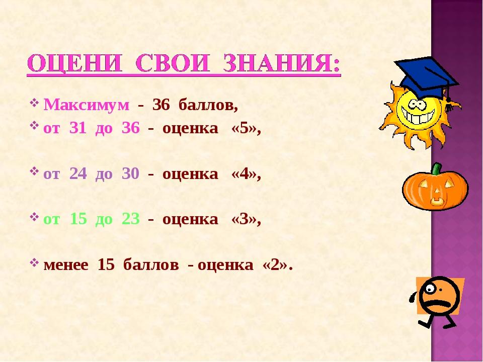 Максимум - 36 баллов, от 31 до 36 - оценка «5», от 24 до 30 - оценка «4», от...