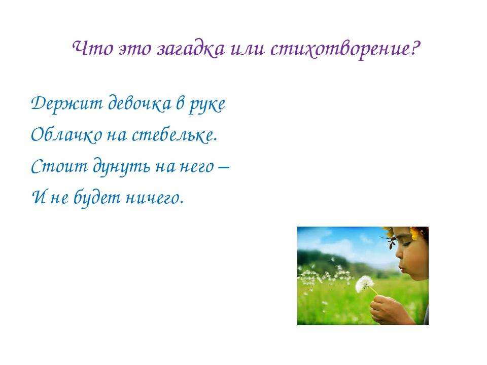 Что это загадка или стихотворение? Держит девочка в руке Облачко на стебельке...