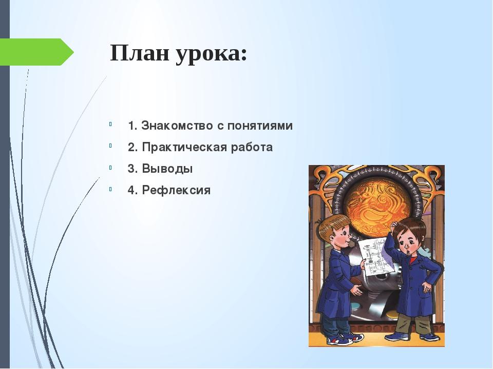 План урока: 1. Знакомство с понятиями 2. Практическая работа 3. Выводы 4. Реф...