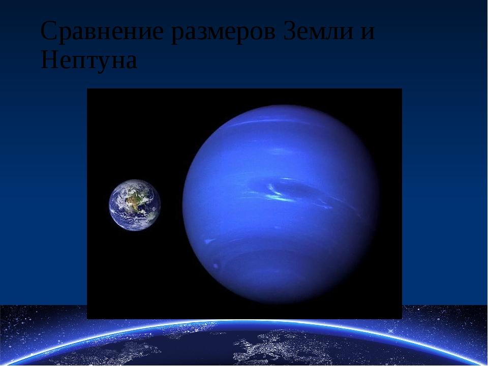 Сравнение размеров Земли и Нептуна