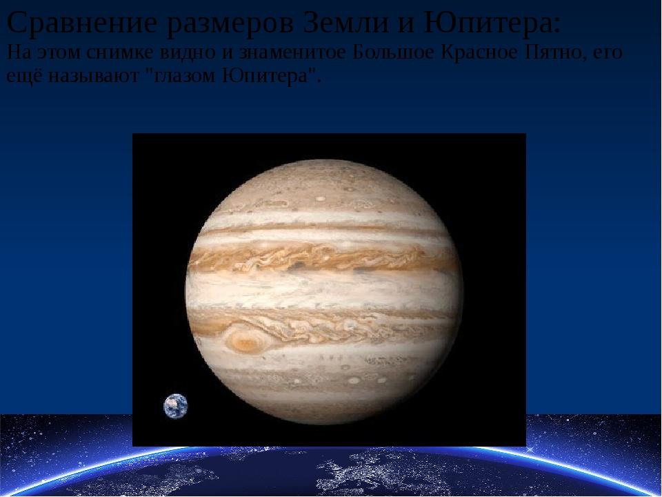 Сравнение размеров Земли и Юпитера: На этом снимке видно и знаменитое Большое...