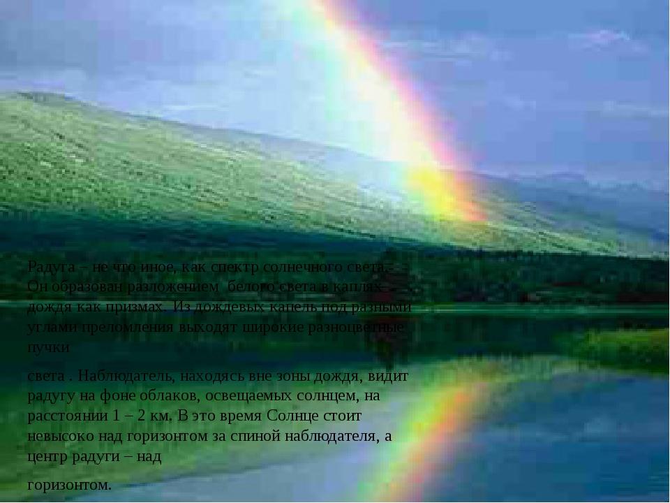Радуга – не что иное, как спектр солнечного света. Он образован разложением...
