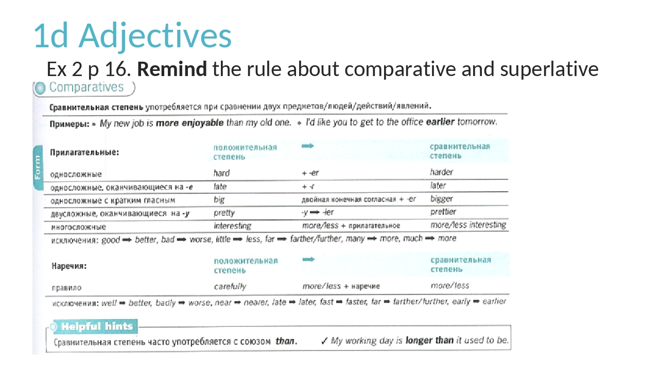 1d Adjectives Ex 2 p 16. Remind the rule about comparative and superlative ad...