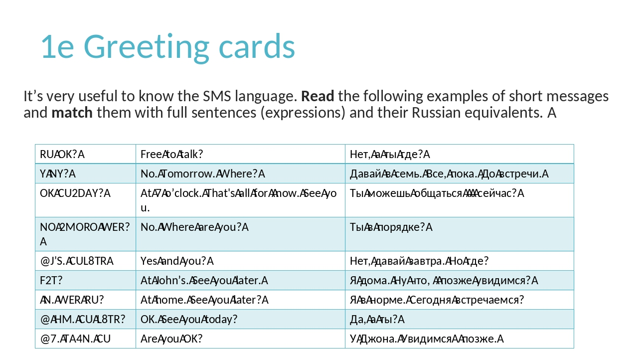 1e Greeting cards It's very useful to know the SMS language. Read the followi...