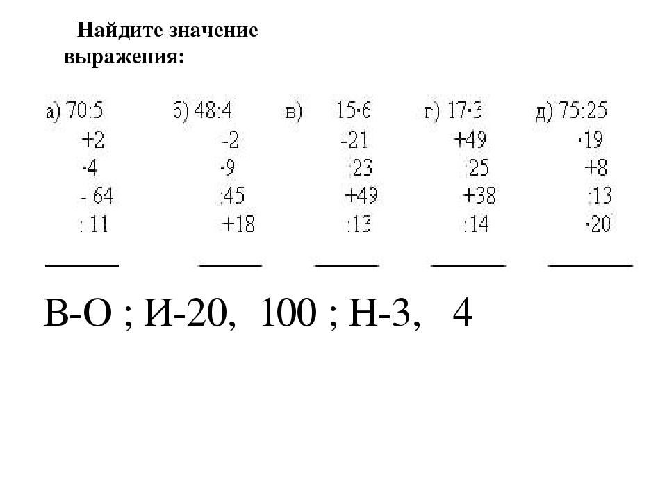 В-О ; И-20, 100 ; Н-3, 4 Найдите значение выражения: