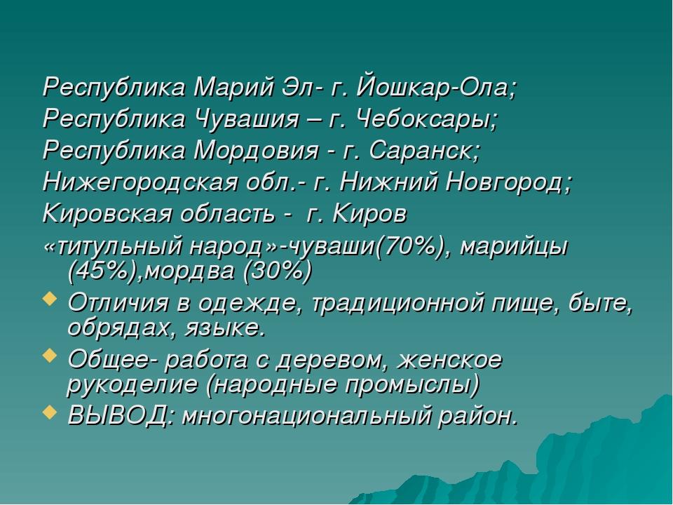 Республика Марий Эл- г. Йошкар-Ола; Республика Чувашия – г. Чебоксары; Респу...