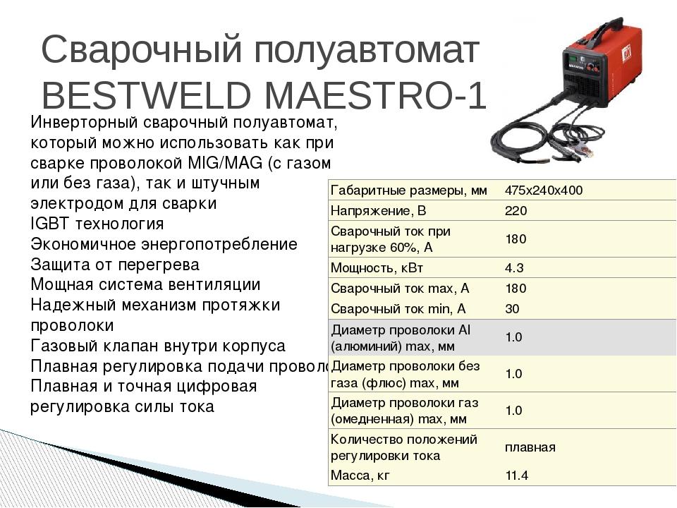 Сварочный полуавтомат BESTWELD MAESTRO-180  Инверторный сварочный полуавтома...