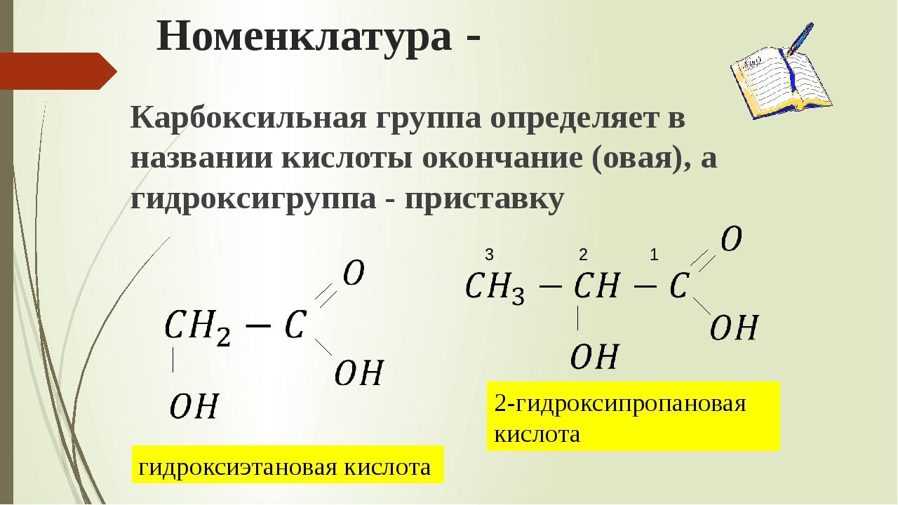 Номенклатура - Карбоксильная группа определяет в названии кислоты окончание (...