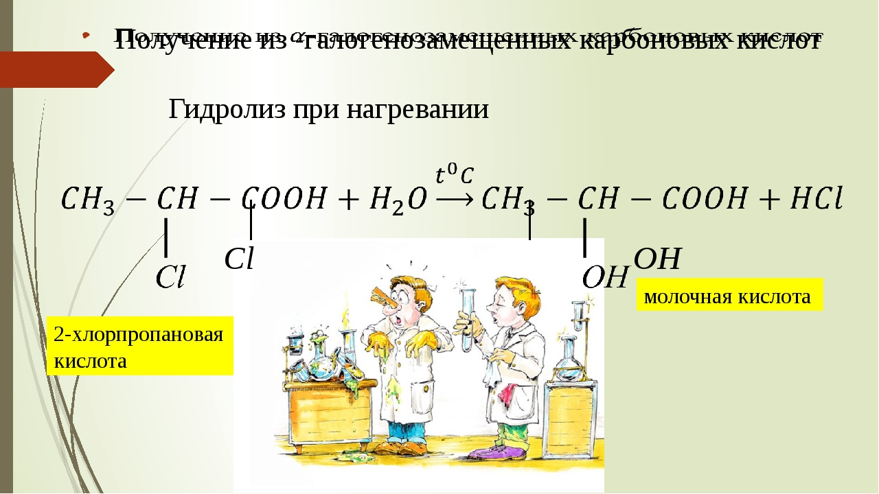 Гидролиз при нагревании 2-хлорпропановая кислота молочная кислота
