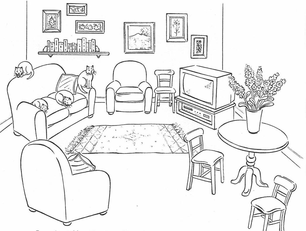 Комната с описанием на английском с картинкой