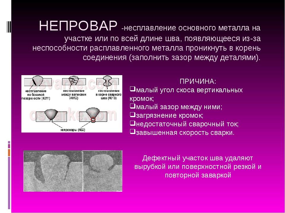 НЕПРОВАР -несплавление основного металла на участке или по всей длине шва, по...