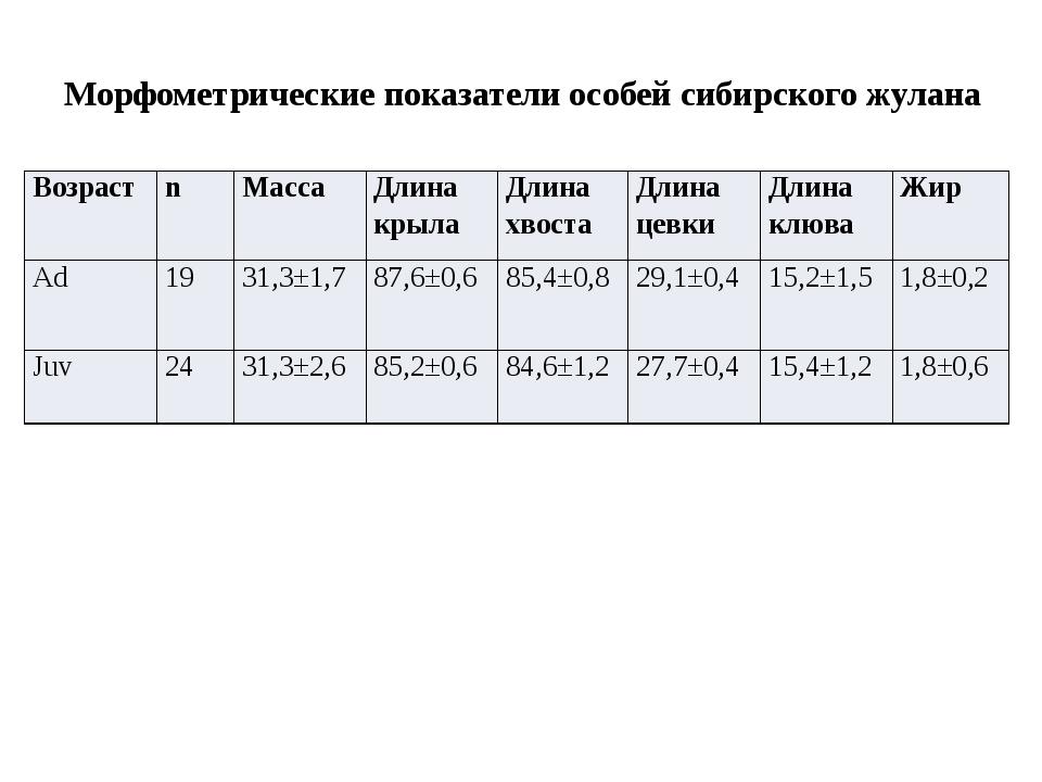 Морфометрические показатели особей сибирского жулана Возраст n Масса Длина кр...