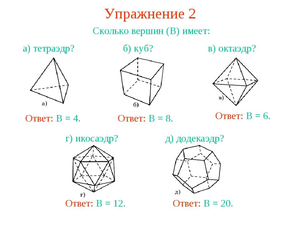 Упражнение 2 Сколько вершин (В) имеет: Ответ: В = 8. Ответ: В = 6. Ответ: В =...
