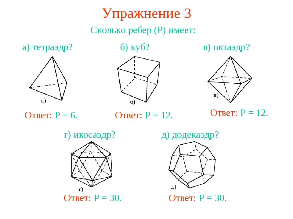 Упражнение 3 Сколько ребер (Р) имеет: Ответ: Р = 12. Ответ: Р = 12. Ответ: Р...