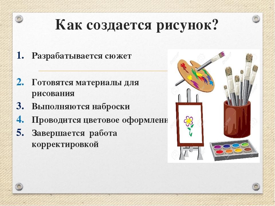Как создается рисунок? Разрабатывается сюжет Готовятся материалы для рисовани...