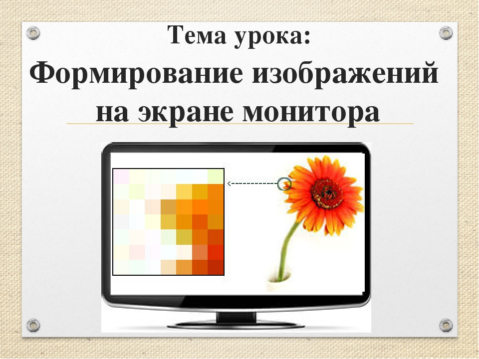 Тема урока: Формирование изображений на экране монитора