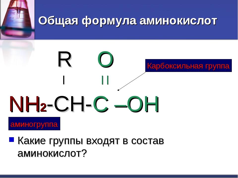 Общая формула аминокислот R O | | | NH2-CH-C –OH Какие группы входят в состав...