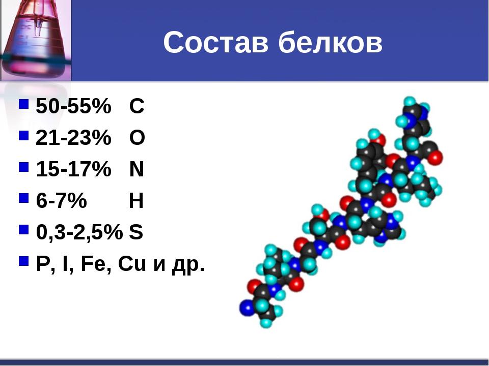 Состав белков 50-55% С 21-23% О 15-17% N 6-7% Н 0,3-2,5% S P, I, Fe, Cu и др.