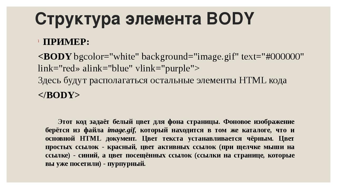 Структура элемента BODY ПРИМЕР: