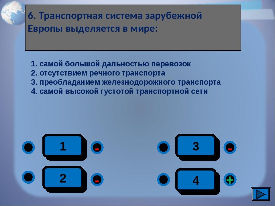 1 - + - - 2 3 4 6. Транспортная система зарубежной Европы выделяется в мире:...
