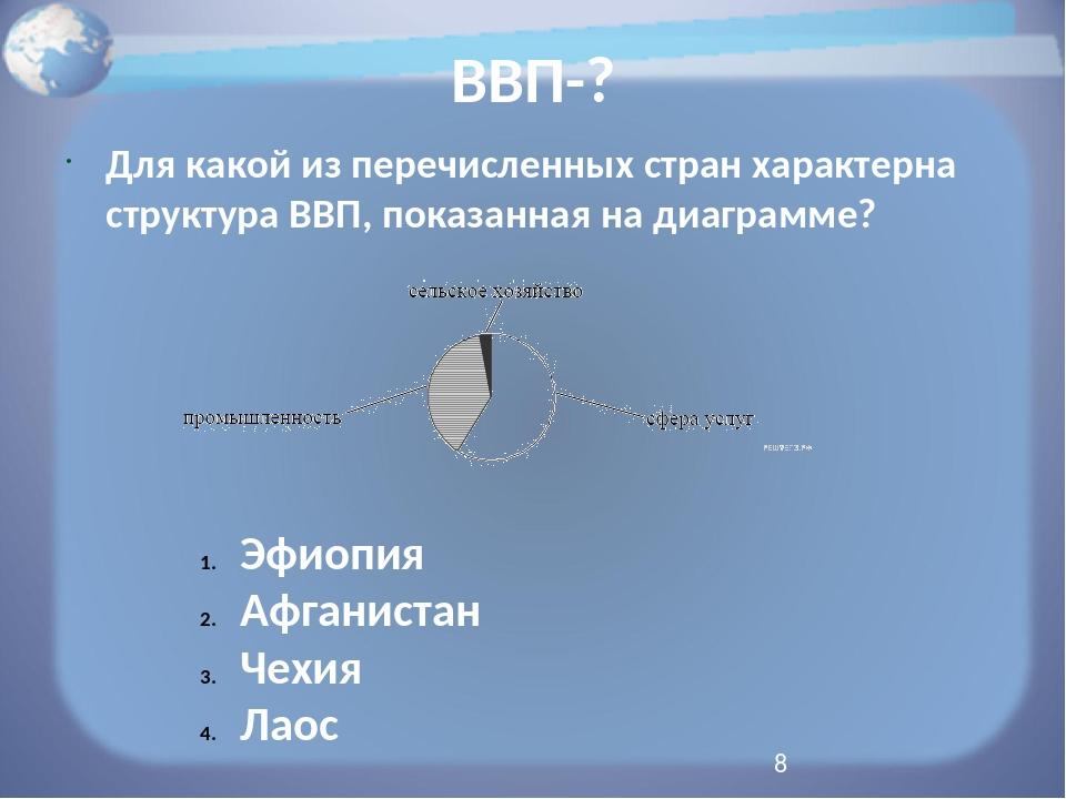 ВВП-? Для какой из перечисленных стран характерна структура ВВП, показанная н...